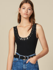 Body De Punto Adornado Con Tachuelas : Tops & Camisas color Negro