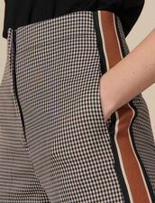 Pantalón recto de cuadros con pasamanos : Pantalones color Marron