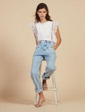 Camiseta Con Pasamanos De Encaje : LastChance-FR-FSelection color Blanco
