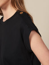 Camiseta ancha con tapetas : -40% color Negro