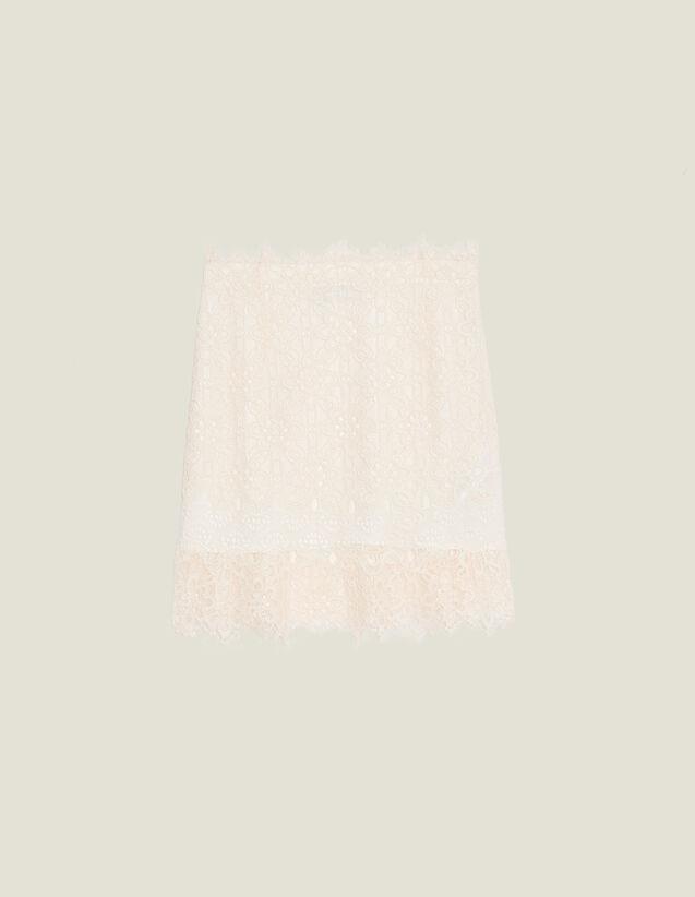 Falda Corta De Encaje : null color Nude