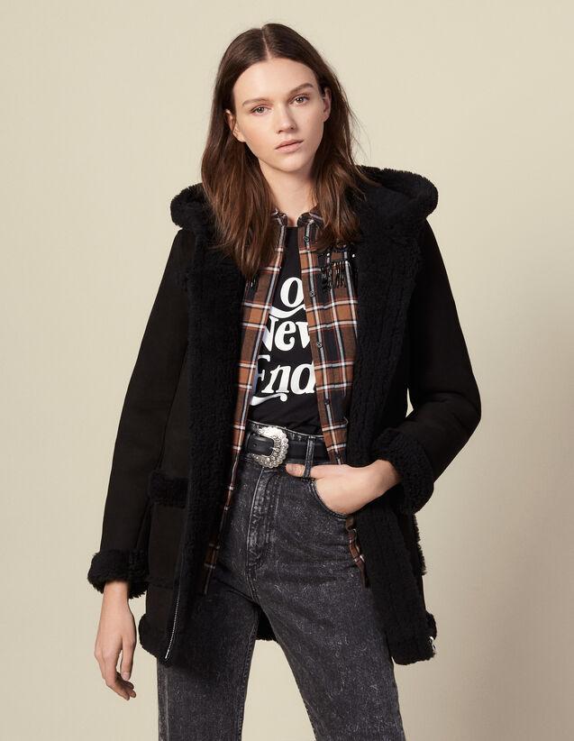 Abrigo largo de piel lanuda con capucha : Abrigos color Negro