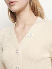 Cárdigan de punto fino de canalé : Jerseys & Cárdigans color Crudo