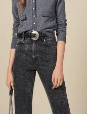 Cinturón De Piel Con Hebilla Trabajada : Toda la colección de Invierno color Negro