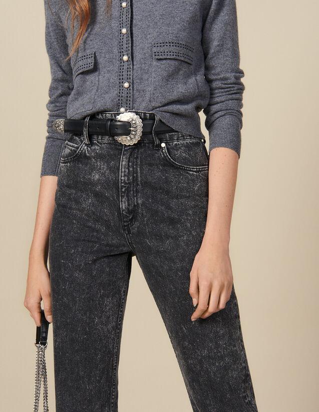 Cinturón De Piel Con Hebilla Trabajada : Lo mejor de la temporada color Negro