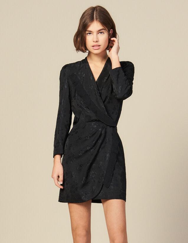 Vestido corto cruzado de jacquard : Vestidos color Negro