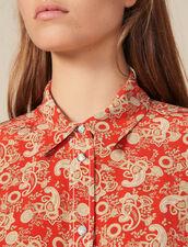 Camisa De Seda Estampada : Novedades color Rojo