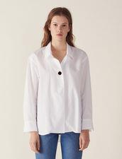 Camisa De Algodón Con Un Botón Joya : null color Blanco