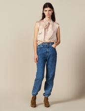 Top De Satén De Seda Con Cuello Con Lazo : Tops & Camisas color Carne