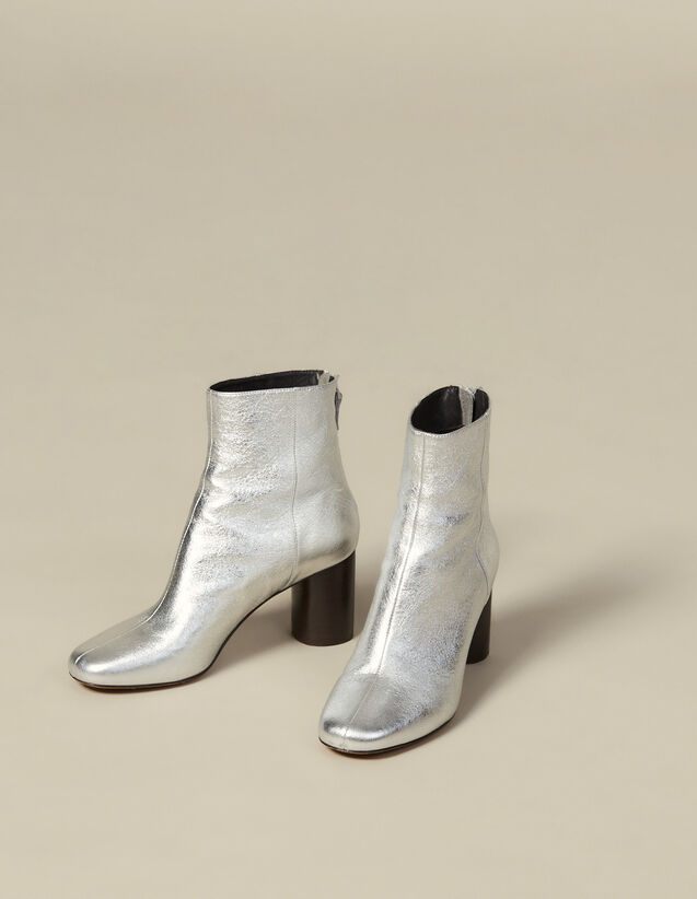 Botines de piel metalizada : Todos Zapatos color Plata