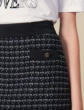 Falda corta trapecio de tweed : Faldas & Shorts color Marino