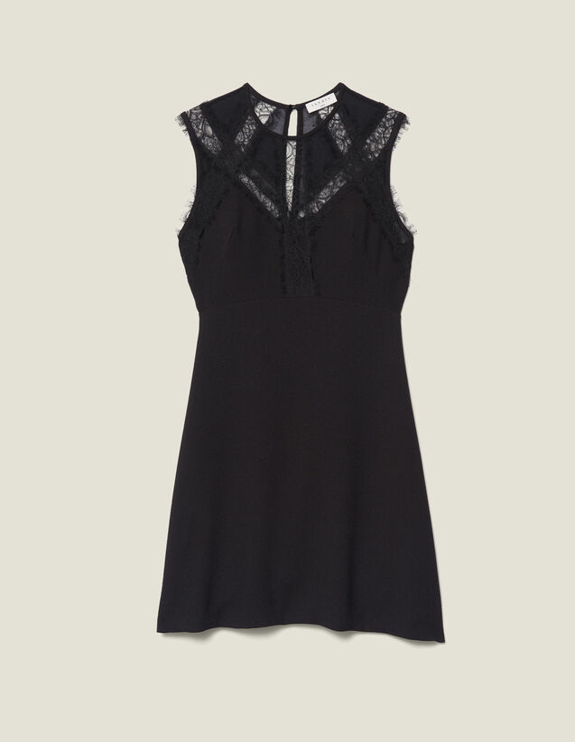 Vestido con insertos de encaje : FBlackFriday-FR-FSelection-30 color Negro
