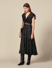 Vestido Largo De Seda De Lúrex : Vestidos color Negro