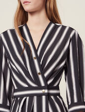 Vestido Midi De Rayas En Contraste : Vestidos color Negro