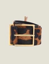 Cinturón De Piel Efecto Pony Estampado : Novedades color Leopardo