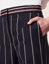 Pantalón De Rayas En Contraste : null color Marino