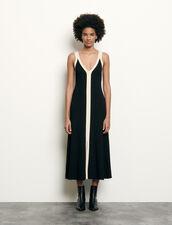 Vestido largo bicolor de punto de canalé : Vestidos color Negro