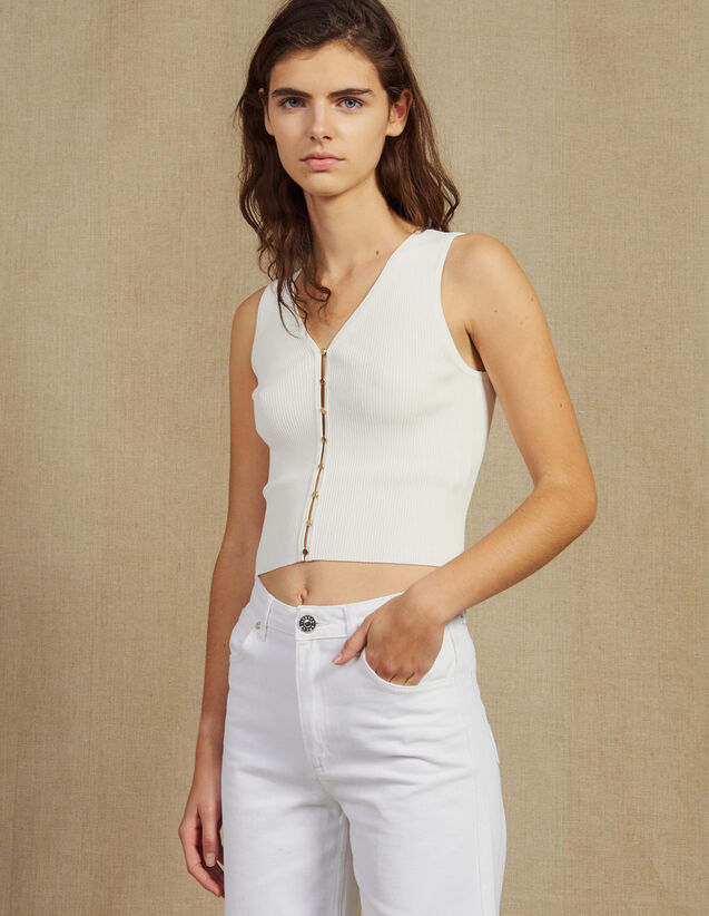 Top De Punto Con Botones Joya : Tops & Camisas color Blanco