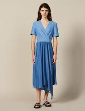 Vestido Cruzado De Mezcla De Materiales : null color Azul