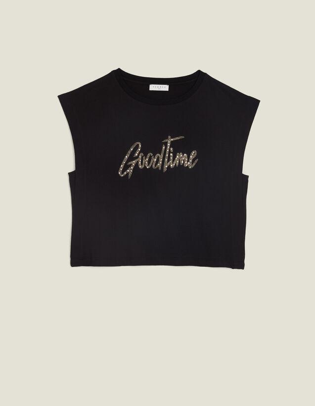 Camiseta Corta Con Mensaje De Perlas : Camisetas color Negro