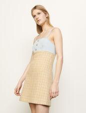 Vestido de tirantes de tweed : Vestidos color Beige