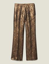 Pantalón De Sastre Evasé De Brocado : FBlackFriday-FR-FSelection-Pantalons&Jeans color Oro