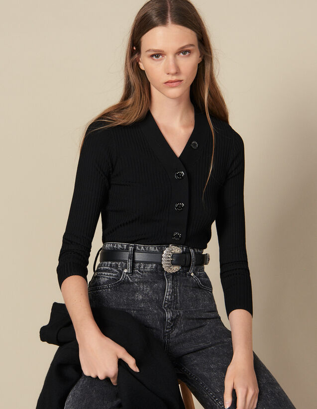 Cárdigan Abotonado De Punto De Canalé : Jerseys & Cárdigans color Negro
