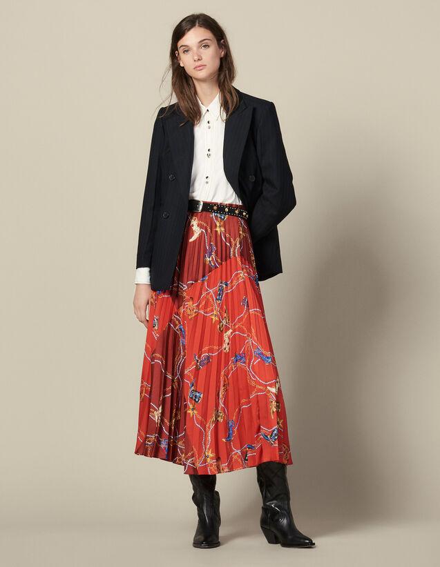 Falda Larga Plisada Y Estampada : Faldas & Shorts color Rojo