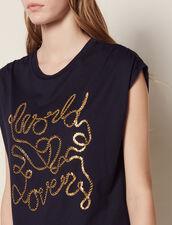 Camiseta De Algodón Con Inscripciones : null color Marino