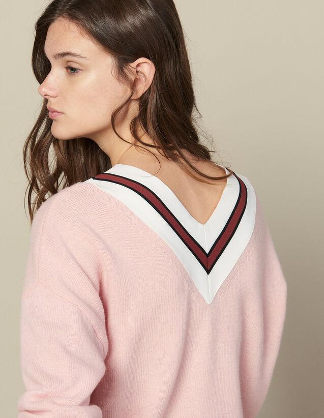Jersey De Rayas En Contraste : Jerseys & Cárdigans color Rosa