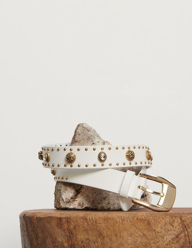Cinturón adornado con remaches : Coleccion de verano color Blanco