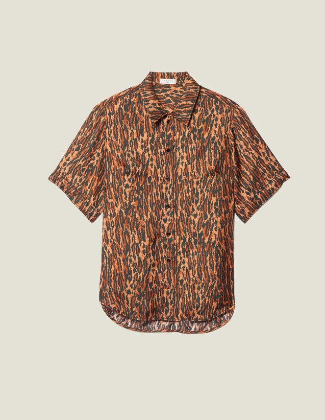 Camisa Estampada De Twill De Seda : FBlackFriday-FR-FSelection-Tops&Chemises color Brown