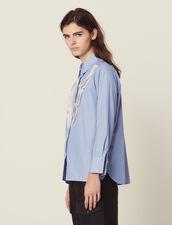 Camisa De Rayas Finas Con Encaje : null color Sky Blue