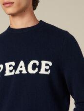 Jersey de lana y cachemira con mensaje : Jerseys & Cárdigans color Marino