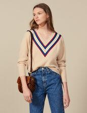 Jersey con cuello en V y pasamano : -40% color Beige