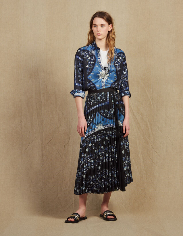 Falda Larga Cruzada Con Plisado Soleil : Faldas & Shorts color Azul