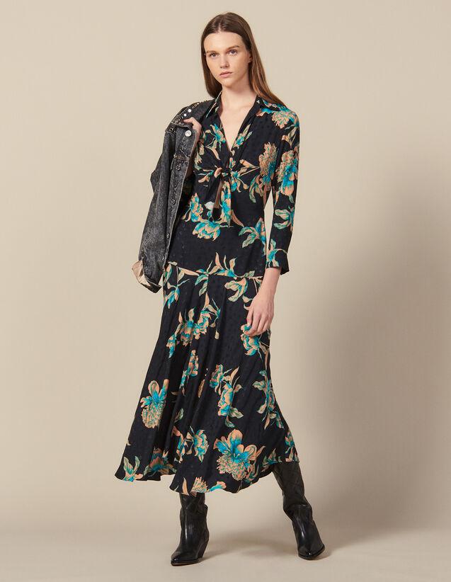 Vestido Largo Estampado Anudable : Novedades color Negro