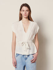 Top Escotado De Seda : Tops & Camisas color Crudo
