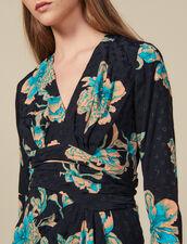 Vestido corto estampado con cinturón : Vestidos color Negro