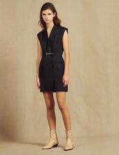 Vestido De Cuello De Sastre : null color Negro