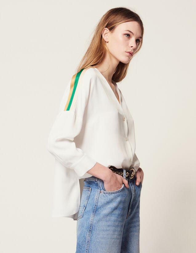Camisa Con Canalé Gráfico : Camisa estampada color Crudo