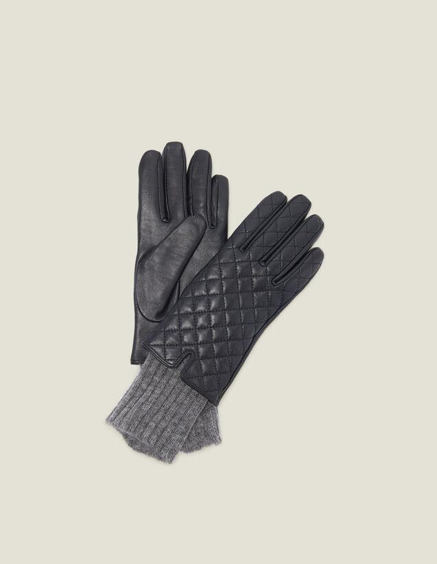 Guantes De Piel Acolchada : Guantes & Gorros color Negro