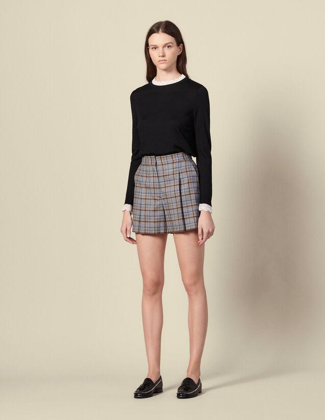Short de cuadros con pinzas : Faldas & Shorts color Gris
