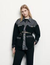 Cárdigan con inserto de tela vaquera : Jerseys & Cárdigans color Negro