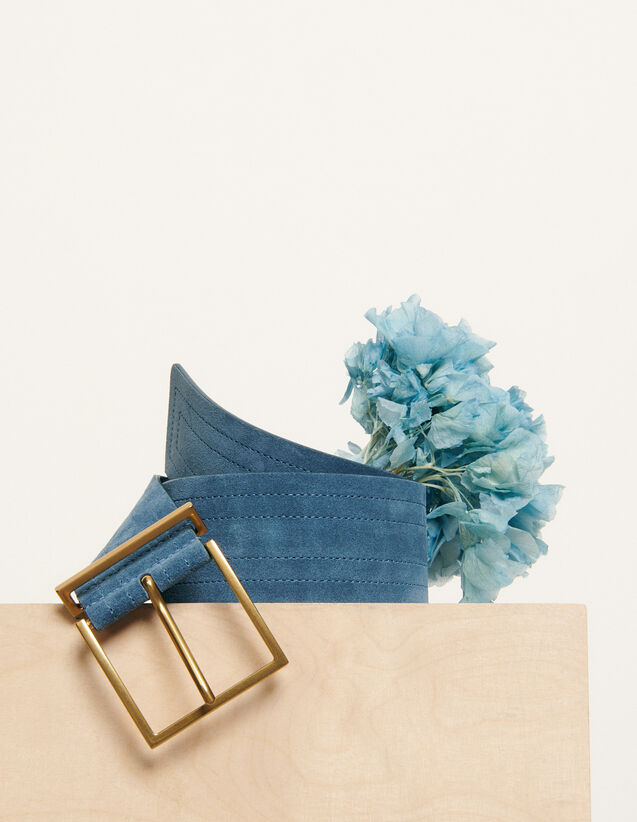 Cinturón ancho pespunteado : Coleccion de verano color Bleu Denim