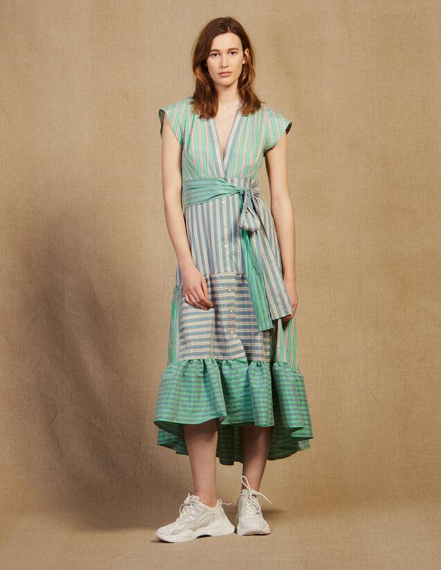 Vestido Cruzado Con Juego De Rayas : Vestidos color Verde