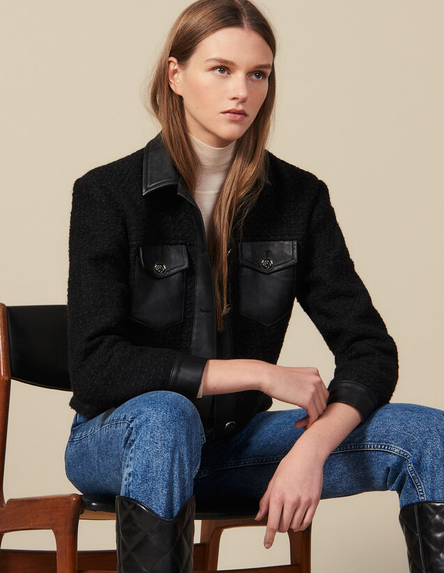 Cazadora de tweed con acabado de piel : Cazadoras & Chaquetas color Negro
