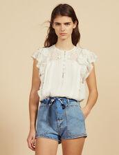Short Vaquero Con Fular : Faldas & Shorts color Blue Vintage - Denim