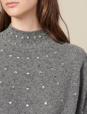 Jersey De Punto Adornado Con Tachuelas : Jerseys & Cárdigans color Gris