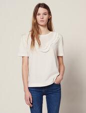 Camiseta Con Pechera Plisada : null color Blanco